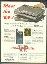 EDISON The V.P. VOICEWRITER 1953 Dictating Instrument ad ADVERTISEMENT