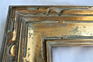 1930 ANTIQUE FIT 12 X18 GOLD GILT PATINA PICTURE FRAME DECO CARVED WOOD FINE ART