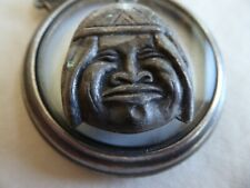 Vtg Sterling Large Double Sided Puffy Native American Face Charm