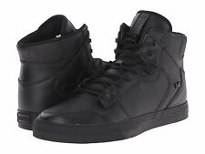 NEW SUPRA VAIDER BLACK BLACK LEATHER 08201-081 HIP HOP SKATEBOARDING SHOES 12