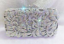 Silver Color~New~Handmade High Quality Austria Crystal Evening Purse Clutch Bag