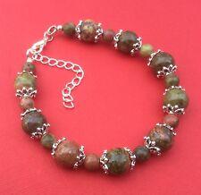 NEW! Unakite Gemstone Bead Handmade Unique Womens Bracelet - Aussie Seller!!!