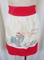 Vintage Rooster Chicks Have Apron Will Serve APRON Mid Century Textile Cotton