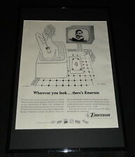 1956 Emerson TV Television Framed 11x17 ORIGINAL Advertising Display