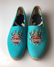 Christian Louboutin Men's Mom and Dad Flat Pacific Blue Espadrilles Euro 40 US 7