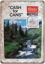 """Coors Cash for Cans Vintage Beer Ad 10"""" x 7 """" Reproduction Metal Sign E30"""
