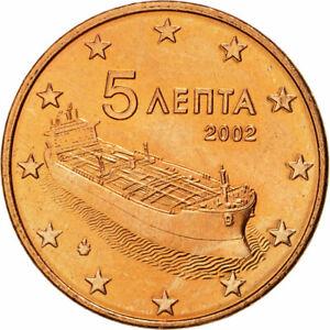 [#466360] Grèce, 5 Euro Cent, 2002, SPL, Copper Plated Steel, KM:183