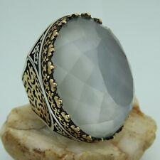 Turkish Handmade Jewelry 925 Sterling Silver Quartz Stone Men Ring Sz 10