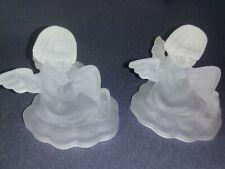 Vintage 24% Lead Crystal Frosted Angel Candle Holders Goebel Hummel Avon 1995