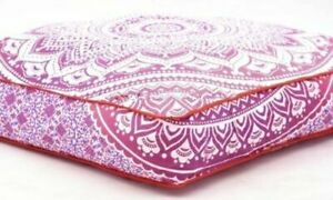 """Indian Pink Ombre Mandala Cotton Cushion Cover 35"""" Square Floor Pillow Case Gift"""