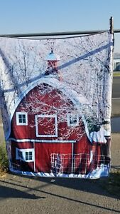 """RED BARN SNOW FARM HOLIDAY PHOTO REAL 50"""" X 60"""" SIZE BLANKET THROW"""