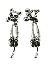 Kitty Cat Silver Tone Double Sided Stud Earrings Ear Jacket Fashion Jewelry