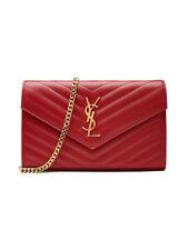 New Saint Laurent Chain Wallet Monogram Red Leather Cross Body Bag Handbag