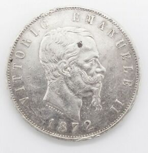 Estate Found 1872 Italy King Victor Emmanuel II 5 Lire Silver Coin