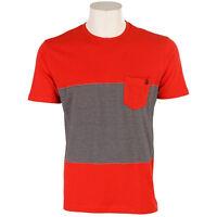 VOLCOM Mens Graphic Surf Skate Street Crew Tee T-Shirt Slim Fit Stripe Red NEW