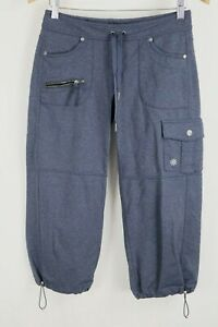 ATHLETA Bettona Boyfriend Capri Crop Pants Cinch Hem Cargo Pockets Blue sz XS