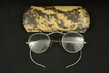 #1 Vintage 1920's 1930's Berkeley Cable Wrap Temple Oval Eyeglasses & Hard Case