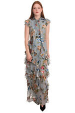 RRP€630 ALICE + OLIVIA Maxi Tiered Dress Size 4 Silk Blend Floral Pussy Bow Neck