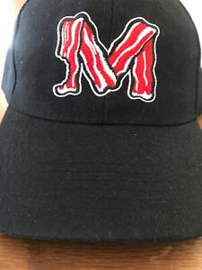 Macon Bacon minor league baseball hat/cap black/red adjustable