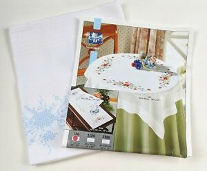 Tablecloth to embroider printed pattern flowers embroidery 80x80cm