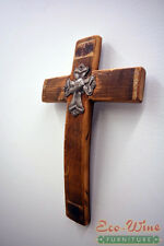 Cross made out of Wine Barrels, Handmade With Small Metal Cross