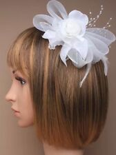 White Looped Net Flower Fascinator Hair Comb Wedding Races