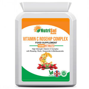Vitamin C Rosehip Complex Bioflavonoids Rutin 1000mg 90 Tablets Immune Support
