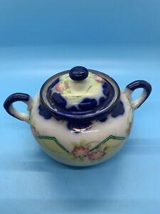 Vintage: Blue/Green Lustreware - SUGAR BOWL - W/Lid - JAPAN - Hand Painted .