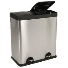 More details for 60l large slim double stainless steel trash can pedal step bin recycling waste