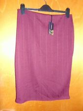 "Cosmic Elasticated Waist Ribbed Stretch Bodycon Skirt 16 L26"" Maroon BNWT"