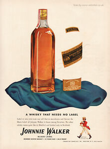 1942 Johnnie Walker Black Label Whisky Classic Full Page Vintage Magazine Ad