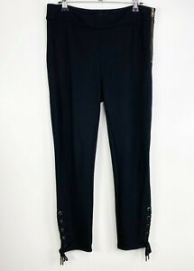 Ann Taylor Women Size 4 Side Zipper Lace Up Ankle Leggings Stretch Black