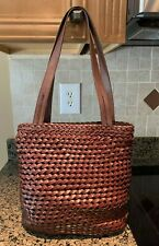 Vtg 90s Brown Woven Leather Shoulder Hand Bag Fossil 75082 Very Good Condition