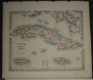 CUBA JAMAICA PUERTO RICO 1855 COLTON ANTIQUE ORIGINAL COLORED LITHOGRAPHIC MAP