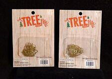 Tiny Gold Tone / Brass Miniature Feather Tree Christmas Ornament Hangers - NIB