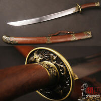 Chinese Sword Qing Dynasty Ox-Tailed Dao Folded Steel Phoenix Fittings Rose Wood