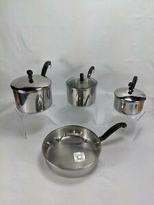 """Farberware Stainless Steel 8-piece Set 1QT 2QT 3QT 10"""" Skillet 18/10 SS W Lids"""