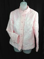 SAKS FIFTH AVENUE Quilted Satiny Butterfly Bed Jacket Housecoat Pink Size Small