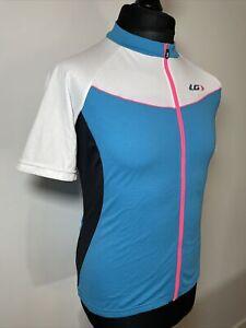 Louis Garneau Women's Blue & Neon Pink Cycling Jersey Retro Short Sleeve Shirt M