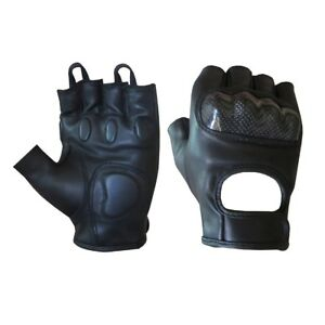 Leather Motorcycle Fingerless Glove heavy Duty Protection Genuine Leather