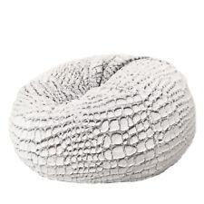 FUR BEANBAG Cover Soft Plush Silver White Cashmere Bean Bag Lounge Chair New