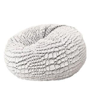 New Ivory & Deene Fur Beanbag Cover Soft Silver White Cashmere Bean Bag Lounge