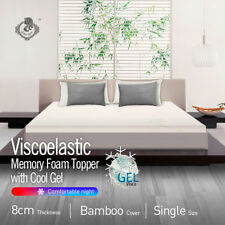 Cool GEL Memory Foam Mattress Topper With Bamboo Fabric Cover Single 8cm