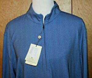 NEW Donald Ross Golf LARGE Navy Blue Herringbone 1/4-Zip Pullover Shirt