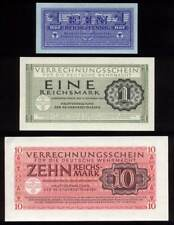 [6852] - GERMAN WEHRMACHT MONEY: 3 NOTES UNC - 1 Pf, 1 RM, 10 RM.