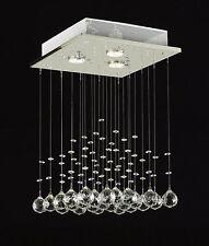 Modern Crystal Square Chandelier Flush Mount Ceiling Light Raindrop