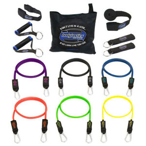 Bodylastics 14 Piece Exercise Equipment Set w/ Weight Resistance Bands & Anchors