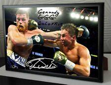 More details for golovkin canelo alvarez framed canvas print signed great gift-souvenir #2