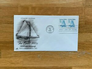 USA US 1985 FDC ART CRAFT TRANSPORTATION COIL STAMP 14 CENT ICE BOATS