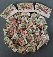 SHABBY CHIC VINTAGE PINK ROSES CHERRY BLOSSOMS AND ASIAN BIRDS MOSAIC TILES